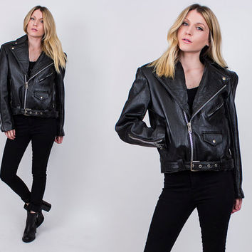 vintage 80s genuine leather motorcycle jacket cropped moto Small