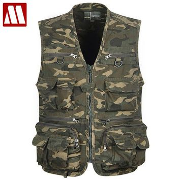 All-purpose Tactical Multi Pocket Camouflage Vest Men Casual Travel Waistcoat Cotton Sleeveless Jacket Camo Photography Vests
