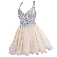 VILAVI Sweetheart Short Chiffon graduation dresses Juniors Dresses 6 Champagne