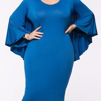 Casual Cape Sleeve Solid Round Neck Plus Size Bodycon Dress