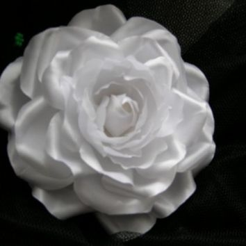 Classic Romantic Bridal Frozen Winter Ice White Satin Silky Rose Brooch Pin Corsage For Sash Hair Clip Completely Hand pressed Made to order