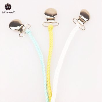Let's make Leather Pacifier Clips Chain 3pcs Dummy Clip Baby Binky Hand Weave Braided Clip Soother Chain For Infant Feeding