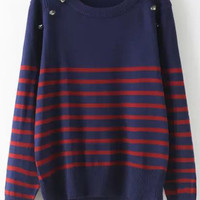 Navy Striped Buttons Long Sleeve Sweater
