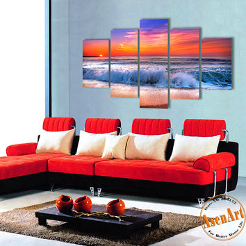 5 Panel Modern Sea Wave Painting Pictures Home Decoration Wall Art Ocean Sunset Painting or Living Room Canvas Prints Unframed