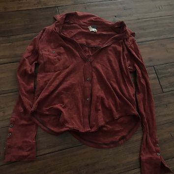 rust button up free people long sleeve shirt