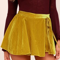 Dance the Night Away Mustard Yellow Velvet Skort