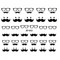 New Cute Black Beard Pattern 3D Nail Sticker DIY Nail Art Decoration - Default
