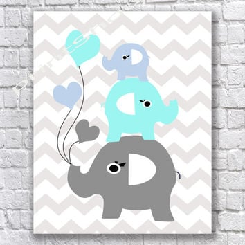 Elephant Decor Baby Nursery Room Wall Printable Poster