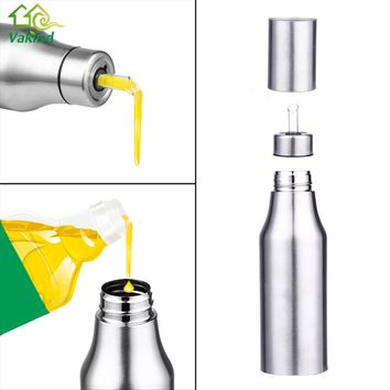 750ML Stainless Steel Leak-proof Oiler Spice Jar Soy Sauce Bottle Kitchen Supplies Cruet Vinegar Bottle Oil Bottle