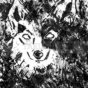 Black And White Wolf Art Print, Animal Wall Art Print, Modern Gray Wolf Artwork, Nature Decor, Wildlife Art, Wolf Gift Idea, Wolves Decor