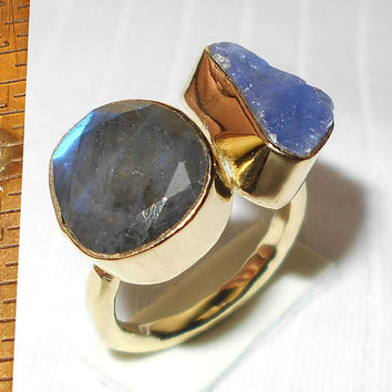 Labradorite Ring - Tanzanite Ring - Semi Precious Ring - Bezel Set Ring - Rough Stone Ring - Gold Plated Ring - Brass Ring, Fashion Ring