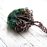 Wire wrapped necklace, Copper necklace with green raw Agate, romantic, elvish, fresh green jewelry