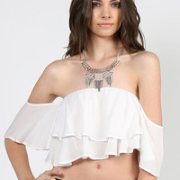 Tiered Ruffle Top - White - Large