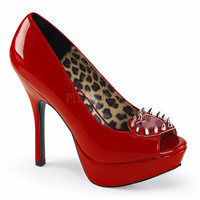 Pixie 17 Red Patent Pump With Peek-A-Boo Studded Heart Open Toe