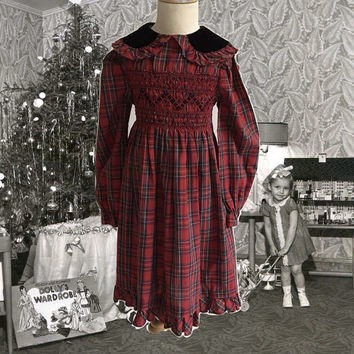 Vintage Girl's Polly Flinders Dress Cotton Red Plaid Smocking Pink Green Black Velvet Collar Kid's Designer Dress