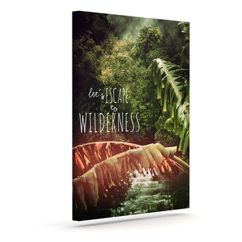 """Deepti Munshaw """"Escape to Wilderness"""" Forest Quote Outdoor Canvas Wall Art"""