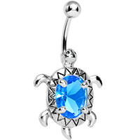 Aqua Blue Cubic Zirconia Sea Turtle Belly Ring | Body Candy Body Jewelry