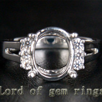 8x10mm Oval Cut Diamond Engagement Semi Mount Ring Settings in 14K White Gold, 0.19ct