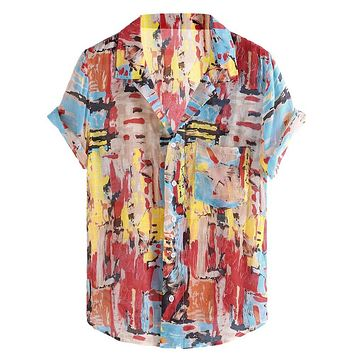 2019 New Stylish Hauts pour hommes Mens Pure Cotton Colorful Printing Loose Turn Down Collar Short Sleeve  Shirt Ropa de hombre