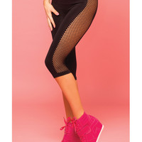 Pink Lipstick Sweat Side Net  Stretch Crop Pant For Support & Compression Black M-l