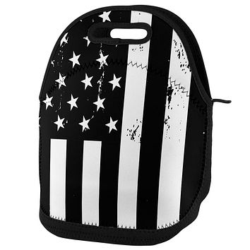 Black and White American Flag Lunch Tote Bag