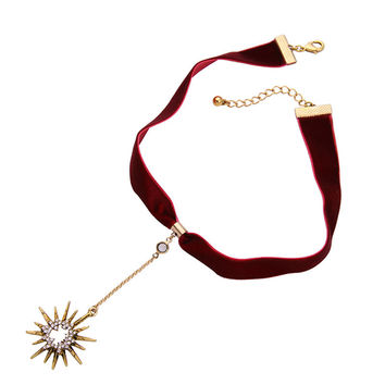 Red Velvet New Charms Fashion Sun Tattoo Choker Necklace For Women Cool Collar Jewelry