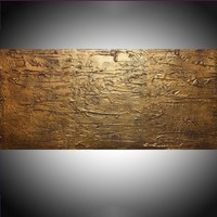 """ARTFINDER: extra large wall panel wall art impasto """" Aztec Gold """" antique effect single panel canvas abstract 48 x 20 """" other sizes available by Stuart Wright - """" Aztec Gold """"  triptych paintings in brown and..."""