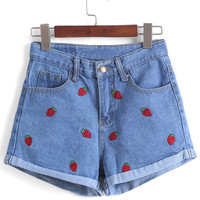 Strawberry Embroidered Cuffed Denim Shorts