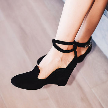 Metal Buckle Wedge Heels