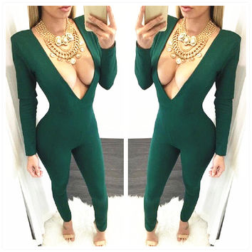 Long Sleeve Deep V-Neck Jumpsuit