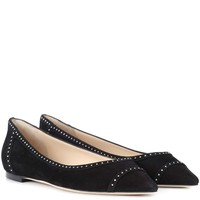 Romy Flat studded suede ballerinas