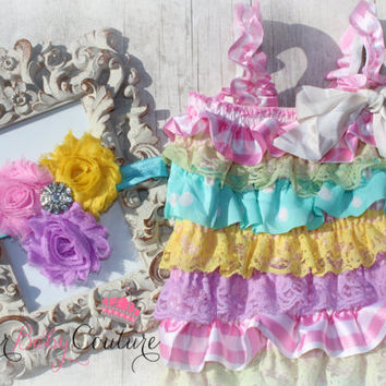 Easter Romper Set - Easter Paste Romper Set w/ Matching Headband - Easter Outfit - Pastel Romper - Bunny Pictures - Lace Petti Romper Set