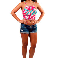 Racer Crop Top - Tropical
