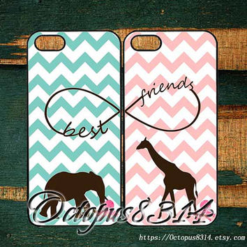 giraffes and elephants,Best friends,in pair two pcs,iphone 5S case,iPhone 5C case,iPhone 5 case,iPhone 4 case,iPhone 4S case,iPod 4,iPod 5