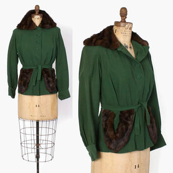 Vintage 40s Fur Trim Jacket / 1940s Belted Forest Green Wool Blazer with Mink Collar S