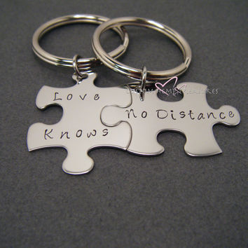 Love Knows No Distance, LDR Gift, Anniversary Gift,Couple Gift, Couples Keychains