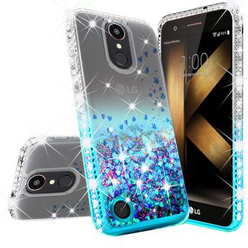 LG K20 Plus Case, LG K20 V, K10 2017, LG Harmony Case Liquid Glitter Phone Case Waterfall Floating Quicksand Bling Sparkle Cute Protective Girls Women Cover for K20 Plus/K20 V/K10 2017/Harmony - Teal