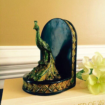 Jewel-Tone Green Tinted Peacock Bookend, Vintage Art Nouveau Home or Office Decor