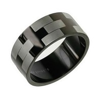 Bling Jewelry Black Stainless Steel Etched Mens Wedding Band Ring