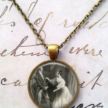 Jane Austen Necklace, Books, Library, Darcy, Willoughby, Ferrar, Literary, Victorian, Steampunk, Quotes T1139