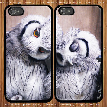 A Pair Of White Owl for couple case iphone 4/4s, iphone 5 and samsung Galaxy S3, samsung Galaxy S4