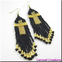 Cross Beadwork Seed Bead Earrings Lovely in Long in Gold Dangles