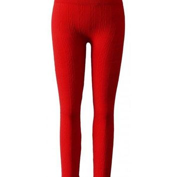 Girls Seamless Cable Fleece Knitted Leggings