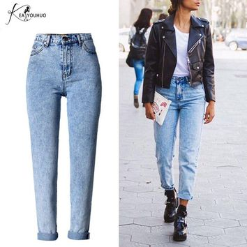 Winter 2018 Fashion Bleached Female Boyfriend Jeans For Women Blue High Waist Denim Loose Ladies Skinny Jeans Woman Mom Jeans