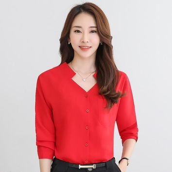 Spring Autumn Women Blouses Batw Sleeve Casual Chiffon Blouse Female V-Neck Work Wear Solid Color White Office Shirts for Women
