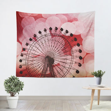 Red Ferris Wheel Tapestry