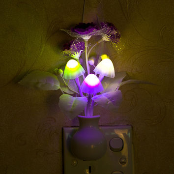 New Romantic Colorful US Plug Dream Mushroom Night Light Sensor Control Bed LED Light Potting Lamp for Bedroom Decoration #74813