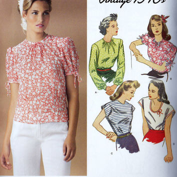 1940s Inspired Misses Blouse Vintage Sewing Pattern, Simplicity 85 Anniversary Issue Simplicity 1692 Sizes 6, 8, 10, 12, 14 uncut