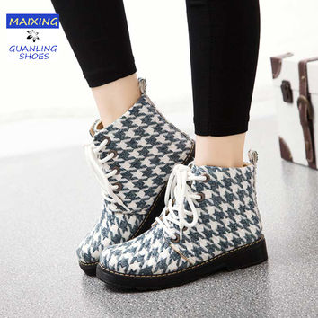 Winter Women Snow Boots Ankle Women Casual Shoes Motorcycle Boots Botas Lace Up Mujer Martin Shoes Western Women Fashion Boots