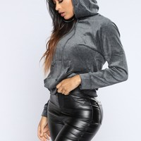 The Original Trendsetter Velour Pullover Hoodie - Charcoal